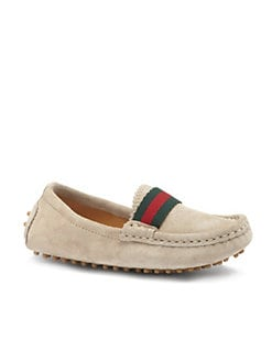 Gucci - Boy's Suede Web Driver Moccasins