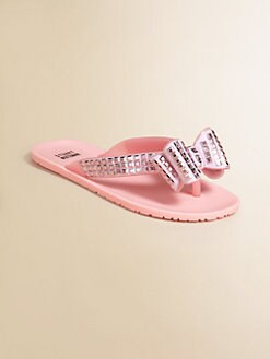 Stuart Weitzman - Girl's Studded Bow Flip Flops