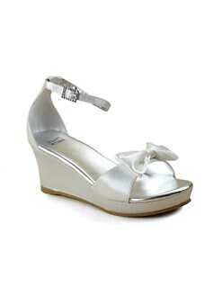 Stuart Weitzman - Girl's Satin Wedge Sandals