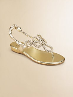 Stuart Weitzman - Girl's Jeweled Metallic Sandals