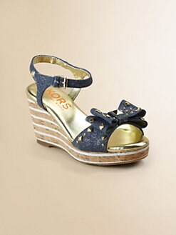 Kors Kids - Girl's Studded Denim Wedge Sandal