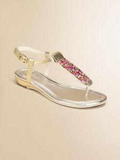 Cole Haan - Girl's Jeweled Metallic Sandals
