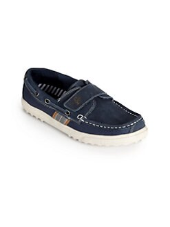 Cole Haan - Boy's Suede & Canvas Boat Shoes