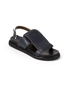 Marni - Toddler's & Girl's Fringed-Front Leather Sandals