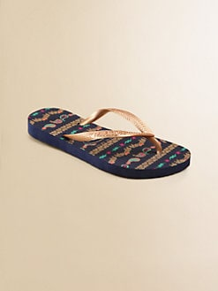 Havaianas - Little Girl's & Girl's Heart and Paisley Flip Flops