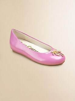 Juicy Couture - Girl's Rae Patent Leather Hidden Wedge Ballerina Flats