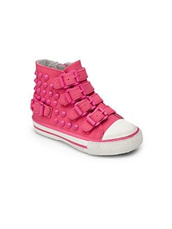 Ash - Toddler's & Little Girl's Studded Buckle Sneakers