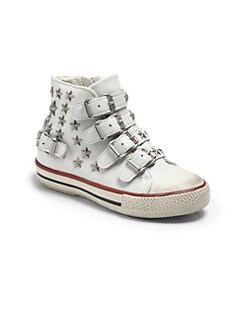 Ash - Toddler's & Little Girl's Studded Stars High-Top Sneakers