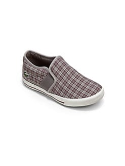 Lacoste - Little Boy's Plaid Slip-On Sneakers