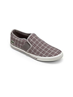 Lacoste - Boy's Plaid Slip-On Sneakers