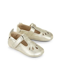 Old Soles - Infant's Metallic Leather T-Strap Flats