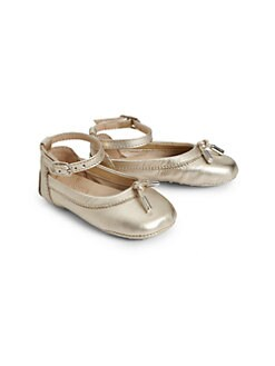 Tod's - Infant's Metallic Leather Baby Tie Ballerina Flats