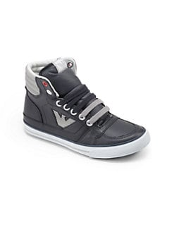 Armani Junior - Boy's Leather Logo High-Top Sneakers
