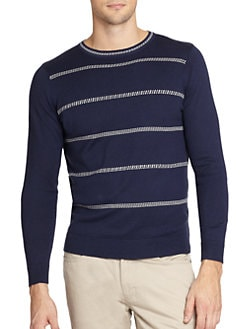 Saks Fifth Avenue Collection - Micro Jacquard Striped Sweater