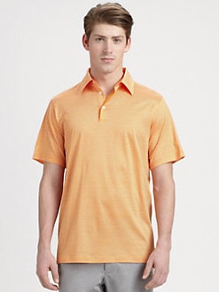 Saks Fifth Avenue Men's Collection - Striped Cotton Tencel Polo