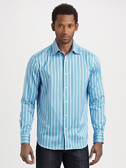 Saks Fifth Avenue Men's Collection - Sateen Bengal Striped Sportshirt