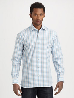 Saks Fifth Avenue Men's Collection - Checked Cotton Sportshirt