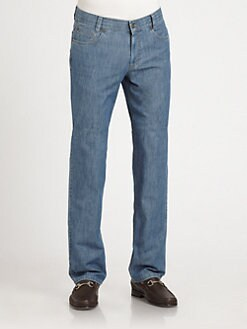Saks Fifth Avenue Men's Collection - Five-Pocket Straight-Leg Jeans