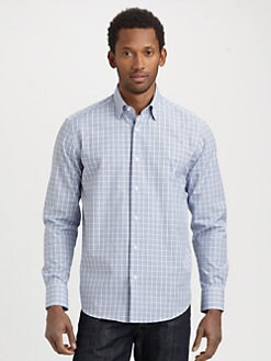 Saks Fifth Avenue Men's Collection - Micro-Plaid Cotton Sportshirt