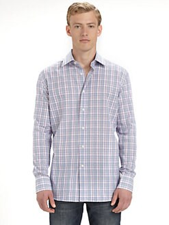 Saks Fifth Avenue Men's Collection - Plain Cotton-Linen Sportshirt