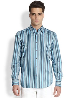Saks Fifth Avenue Men's Collection - Multistriped Cotton Sportshirt