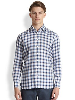 Saks Fifth Avenue Men's Collection - Check Linen Sportshirt
