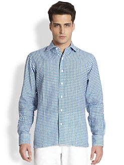 Saks Fifth Avenue Men's Collection - Small Check Linen Sportshirt