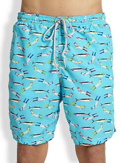 Saks Fifth Avenue Collection - Fish & Diver Print Swim Trunks