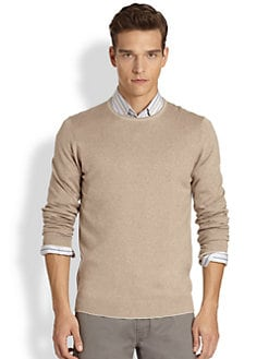 Saks Fifth Avenue Collection - Silk/Cashmere/Cotton Trimmed Sweater