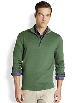 Saks Fifth Avenue Collection - Silk/Cashmere/Cotton Quarter-Zip Sweater