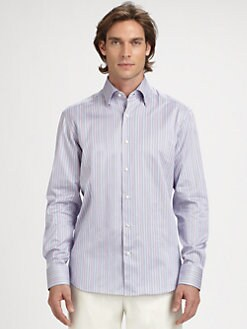 Saks Fifth Avenue Men's Collection - Sateen Mini Stripe Sportshirt