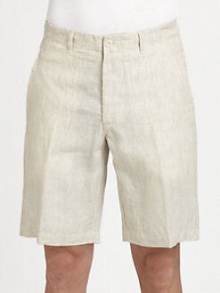 Saks Fifth Avenue Men's Collection - Flat-Front Linen Shorts