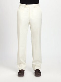 Saks Fifth Avenue Men's Collection - Flat-Front Cotton Modal Pants