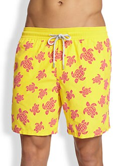 Vilebrequin - Moorea Flocked Turtle Swim Trunks