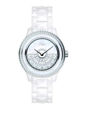 Dior VIII Grand Bal Diamond, Mother-Of-Pearl, White Ceramic & Stainless Steel Automatic Bracelet