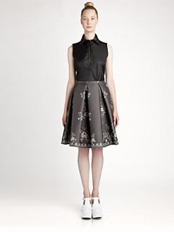 Jil Sander Navy - Silk Jacquard Skirt