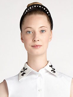 Jil Sander Navy - Embroidered Satin Headband