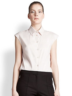 Jil Sander Navy - Collared Cap-Sleeve Blouse