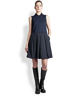 Jil Sander Navy - Pleated Techno-Skirt Dress
