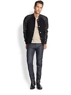 APC - Teddy кожа-Sleeve Varsity Jacket