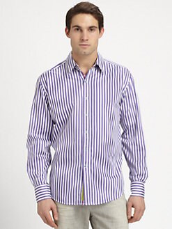 Robert Graham - Contrasting-Trim Striped Button-Down Shirt
