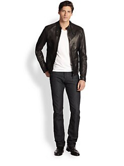 Sand - Luke Leather Moto Jacket