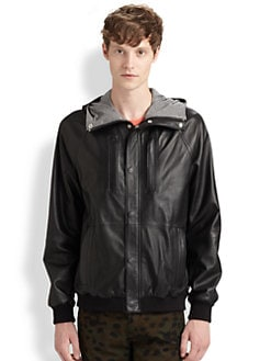 Marc by Marc Jacobs - Leather Hoodie