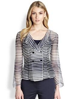 Armani Collezioni - Striped Organza Double-Breasted Jacket