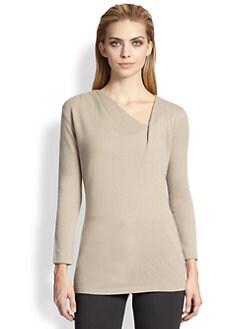 Armani Collezioni - Cashmere Gathered V-Neck Sweater