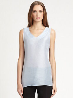 Armani Collezioni - Collar-Paneled Linen & Silk Top
