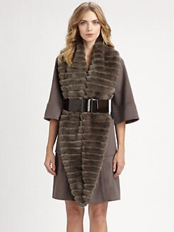 Armani Collezioni - Belted Fur-Trimmed Coat