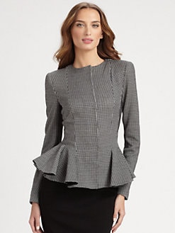 Armani Collezioni - Check Jersey Peplum Jacket