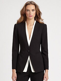 Armani Collezioni - Shirt Insert Stretch Wool Tuxedo Jacket