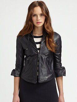 Armani Collezioni - Washed Leather Drawstring Jacket